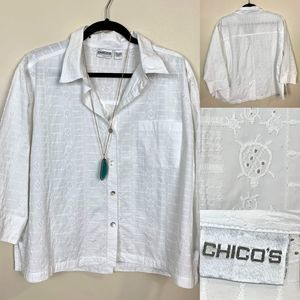 Chico's Eyelet 3/4 sleeves White Button Down Shirt